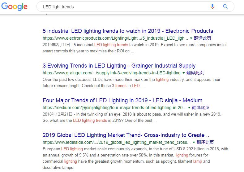 Google Search LED light trends