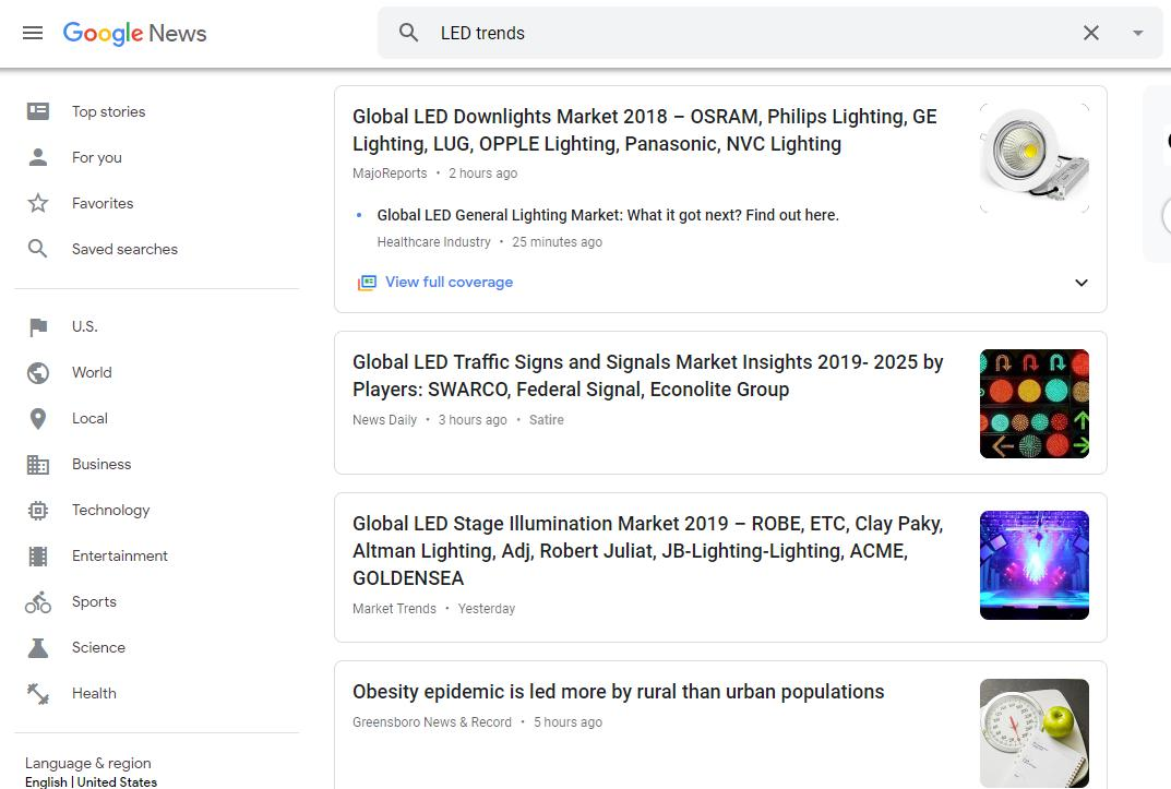 LED Trends Search on Google News