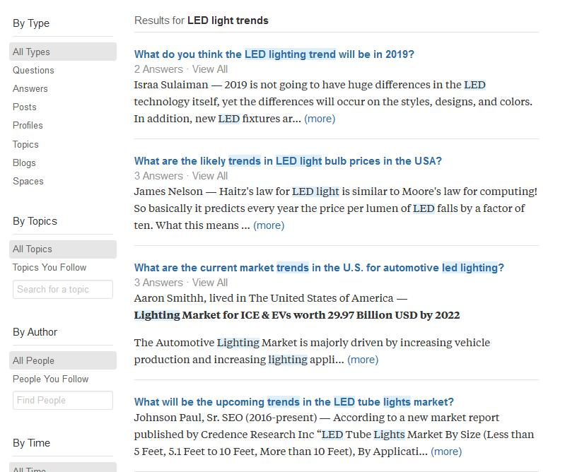 LED Trends Search on Quora